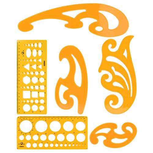 TIMESETL 6Stück Zeichenschablone Kurven Vorlage Lineal Set, Geometrie Zeichnung Vorlage Kreisschablone Kurvenschablone Technische Zeichnen Vorlage für Architektur Kunst Studio Büro Schule