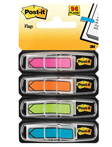 Post-it Arrow Flags, Assorted Bright Colors.47 in. Wide, 24/Dispenser, 4 Dispensers/Pack, (684-ARR4), Pink/Orange/Green/Turquoise, 96 Flags