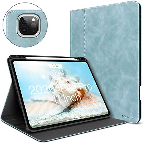 iPad Pro 11 Case 2020&2018 with Built-in Pencil Holder - Minimalist Folio Leather Smart Cover Auto Sleep/Wake [Supports Wireless Charging]