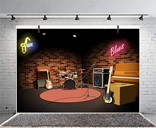 GoEoo 7x5ft Photography Background Music Shed Backdrop Jazz Blues Guitar Piano Keyboard Drum Micphone Vintage Grunge Room Brick Wall Underground Cowboy Birthday Photo Portrait Vinyl Studio Video Prop