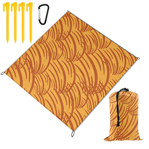 Great Price! Hucuery Picnic Blanket 59 X 57 in Simple Wave Orange Pattern Foldable Waterproof Extra ...