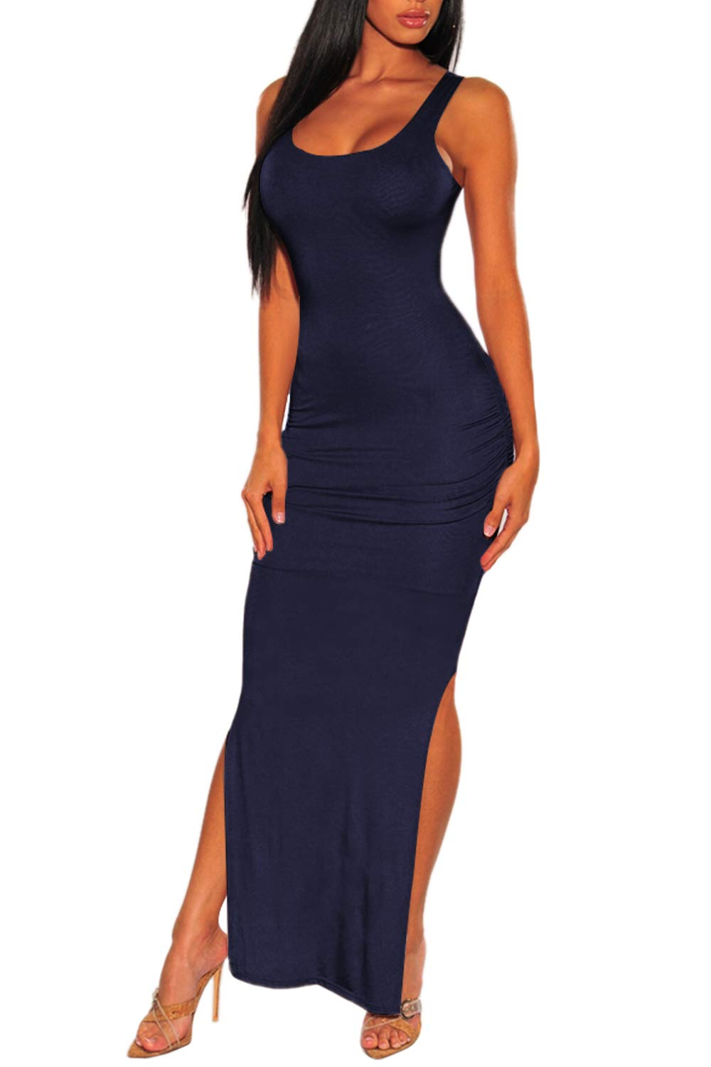 Available at Amazon: Meenew Women's Sexy Low Cut Side Shirring Bodycon High Slit Long Dress