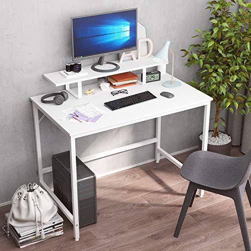 JOISCOPE Computertisch mit beweglichem Regal, industrieller Retro-Computertisch, Schreibtisch, einfache Installation,100 x 60 x 73 cm(Weißes Finish)
