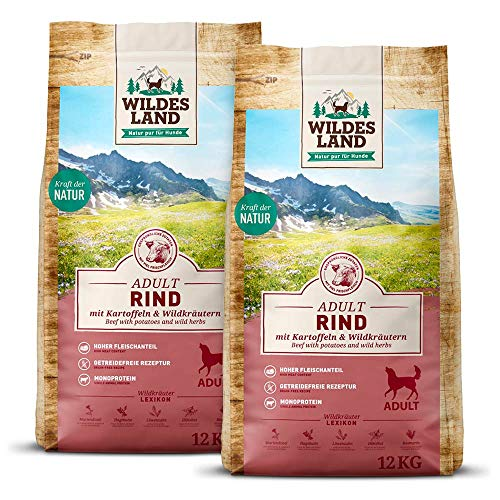 Wildes Land | Nr. 5 Rind | 24 kg | mit Kartoffeln und Wildkräutern | Glutenfrei & Hypoallergen | Trockenfutter für Hunde | Hundefutter mit hohem Fleischanteil Hohe Verträglichkeit