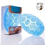 Chien Ballon Grinçant Jouet Durable Animal de compagnie à mâcher boules Rebondissant Caoutchouc pour chiens avec un bruit grinçant pour les animaux domestiques s'entraînant à courir (bleu)