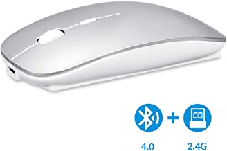 Uiosmuph Bluetooth Wireless Mouse, Dual Mode Slim Rechargeable Wireless Mouse Silent Cordless Mouse with Bluetooth 4.0 and 2.4G Wireless, Compatible with Laptop, PC, Windows, Mac, Tablet (Sliver)