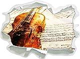 Stil.Zeit Geige, Papier 3D-Wandsticker Format: 92x67 cm Wanddekoration 3D-Wandaufkleber Wandtattoo