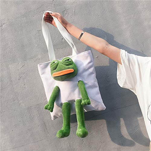 trieste kikker roze naughty canvas rugzak student schattig meisje rugzak One shoulder white frog