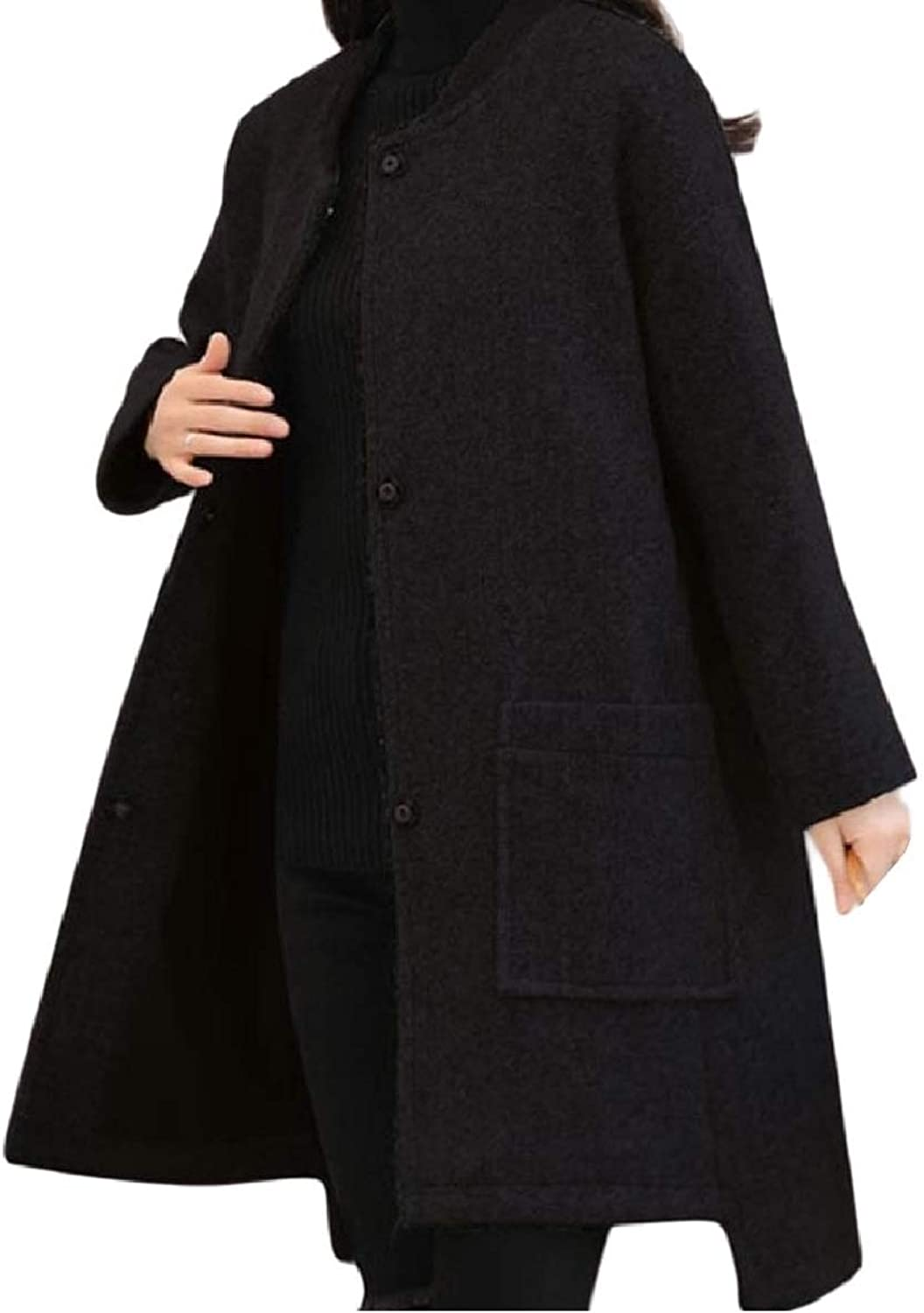 Winme Women's Outwear Wool Blend Fall Winter Loose Casual Parka Jacket