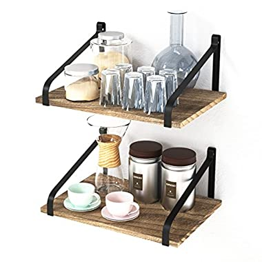 """Love-KANKEI Floating Shelves Wall Mount- Rustic Wood Wall Shelves with Large Storage (L 16  x W 11"""") for Kitchen Living Room Bathroom Bedroom Set of 2"""