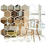 36 Pcs Removable Acrylic Mirror, Mirror Wall Sticker Decal,3D Mirror Hexagon Wall Decals Self Adhesive Tiles,Home Living Room Bedroom Decor(10 x 8.5 x 5 cm)