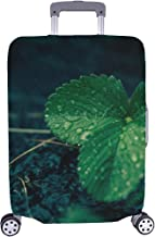 Nature Forest Drop Plant Sunlight Rain Pattern Spandex Trolley Case Travel Luggage Protector Suitcase Cover 28.5 X 20.5 Inch