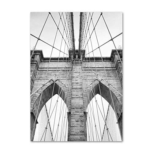 IGZAKER Wereldkaart Parijs Toren New York Bridge Wall Art Canvas Schilderij Nordic Posters En Prints Muur Foto 'S Voor Woonkamer Decor-60x80cm geen frame