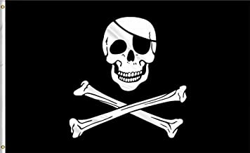 Aimto 3x5 FT Jolly Roger Flag Patch - Halloween Flags Bright Colors Anti-Fading Materials - Pirate Flags Polyester Canvas Brass Buttonhole - Quality Assurance