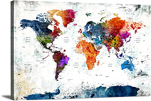 Framed World Map Wall Art Multi Panel X-Large Canvas Print for Home Decor | Track Your Travels with This Colorful Antique Looking Map | Framed Ready to Hang by My Great Canvas (36x24, World Map - 6)