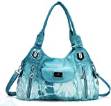 Angel Kiss Roomy Fashion Hobo Womens Handbags Ladies Purse Satchel Shoulder Bags Tote Washed Leather Bag (A-AK812-2Z Green-Blue)