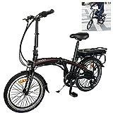 Bicicleta Elctrica Plegables De montaña Adultos Unisex Negro, Fabricada en Aluminio de aviacin Plegable 25 km/h,hasta 45-55 km Bicicleta Eléctricas para Adultos/Hombres/Mujeres.