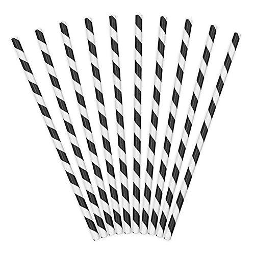 Generique - 10 schwarz-weiß gestreifte Strohhalme