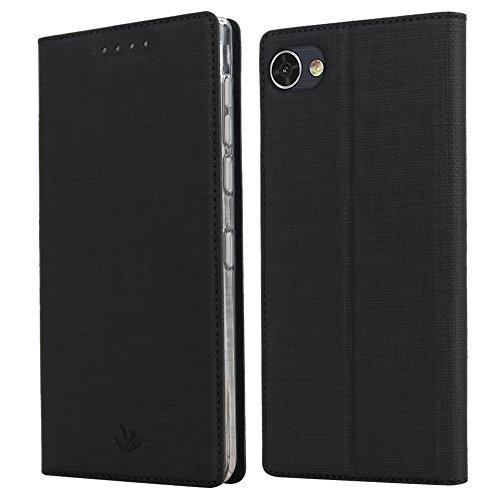 ViLi BlackBerry Motion Leder Tasche Flip Handyhülle Standfunktion Kartenfach Magnetverschluß Kartenhalter TPU Stoßstange Wallet Schutzhülle für BlackBerry Motion (Schwarz)