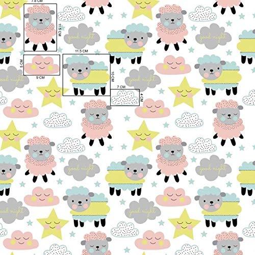 Stoffschreinerei Tela de algodón de 1 m, diseño de ovejas