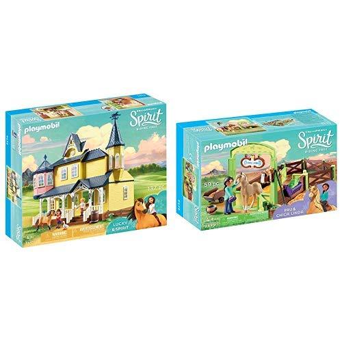 PLAYMOBIL 9475 Spielzeug-Luckys glückliches Zuhause &  9479 Spielzeug-Pferdebox PRU & Chica Linda