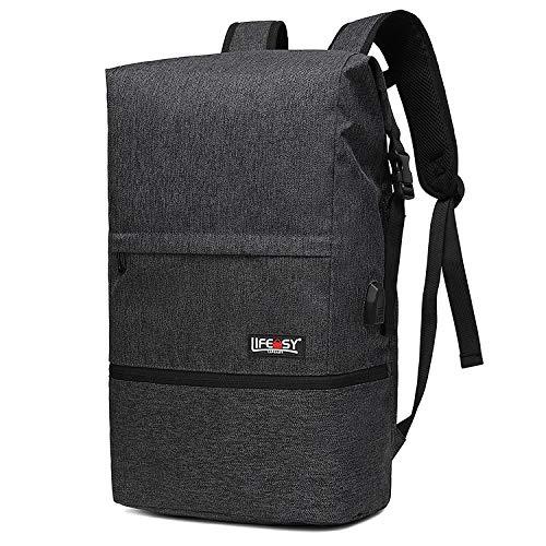 Bolsa de Viaje de Ocio Multifuncional Bolsa de Cubo Bolsa de Fitness al Aire Libre de Gran Capacidad Mochila de Moda-Negro_24 Pulgadas