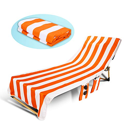 TIAQUN Beach Chair Cover Pool Chaise Lounge Chair Cover with Pockets, Microfiber Chaise Lounge Chair Towel Cover for Hotel Vacation Sunbathing Garden Lawn Chair,No Sliding,Quick Drying (Orange White)