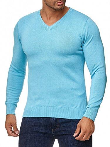 BARBONS Herren Pullover mit V-Ausschnitt - Slim-Fit - Hochwertige Baumwollmischung - Feinstrick-Pullover - Türkis L