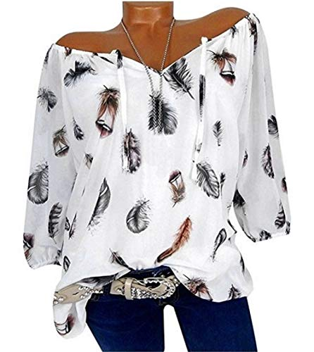 Shujin Damen Sommer Elegant Langarm Bluse mit V-Ausschnitt Feder Drucken Blusenshirt Oversize Tunika Hemdbluse Tops