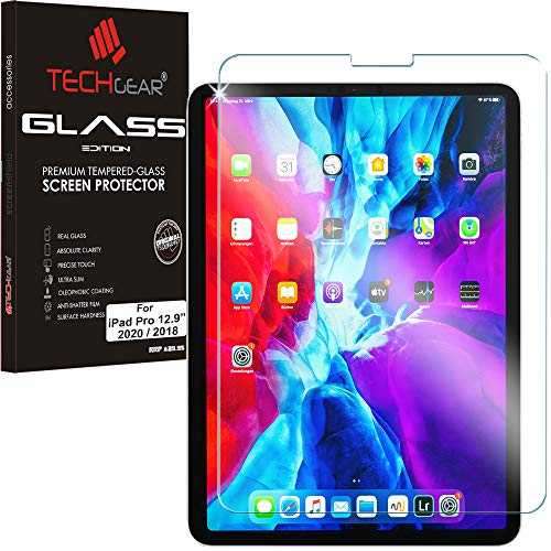 TECHGEAR GLASS Edition for New iPad Pro 12.9' 2020/2018 [4th & 3rd Generations], Genuine Tempered Glass Screen Protector Guard Cover Compatible with New Apple iPad Pro 12.9 inch 2020, 2018 & Pencil