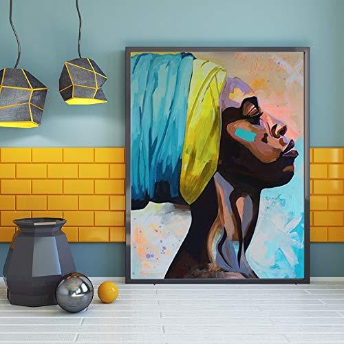 MJKLU childrenAbstract Canvas Schilderij Figuur Schilderen Muur Kunst Schilderij Hardwerkende Zwarte Vrouw Portret Woondecoratie Schilderij Kunst Poster HD Prints 40X55CM