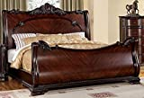 24/7 Shop at Home 247SHOPATHOME IDF-7277Q FA-CM7277Q-BED Sleigh Bed, Queen, Cherry
