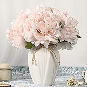 JARELING Artificial Flowers with Vase,Faux Peony Flower in Vase Fake Silk Flower Arrangement Table Centerpieces for Dining Room Home Office Decoration (Light Pink,Small)