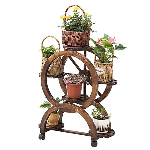 XIN Jardin Stand De Fleurs Pot De Fleurs Multicouche Carbonisation En Bois Balcon Intérieur Étagère À Fleurs Extérieure Mobile