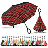 Sharpty Inverted Umbrella, Umbrella Windproof, Reverse Umbrella, Umbrellas for Women with UV Protection, Upside Down Umbrella with C-Shaped Handle (Red Plaid)