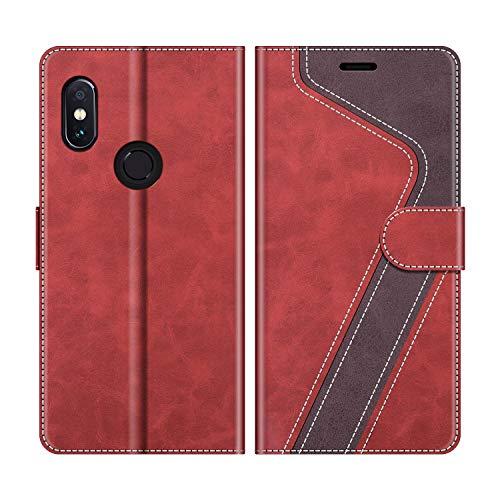 MOBESV Handyhülle für Xiaomi Redmi Note 5 Hülle Leder, Xiaomi Redmi Note 5 Klapphülle Handytasche Hülle für Xiaomi Redmi Note 5 Handy Hüllen, Modisch Rot