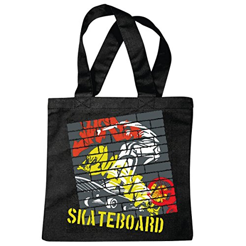 Tasche Umhängetasche Vintage Skateboard Skateboardfahrer Longboard Skater Freestyle Einkaufstasche Schulbeutel Turnbeutel in Schwarz
