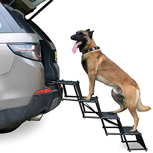 LALAWO Hunderampe Für Große Und Kleine Hunde - Beladbar Bis 80 Kg - Verwendbar Für Alle Fahrzeuge - Hundetreppe Faltbar, Inklusive Sicherheitsgurt Für Hunde Bis 120 LBS, 4 Stufen