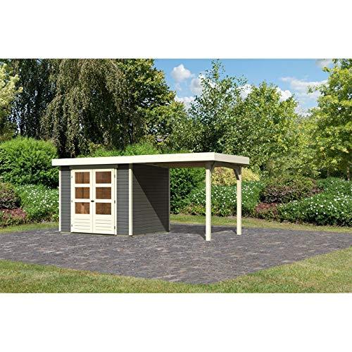 Röhrs Edition - Karibu Gartenhaus Walsrode 3 terragrau Set mit Anbaudach - Gerätehaus aus Fichtenholz - 242 x 217 cm - 19 mm Wandstärke - modernes Design mit Flachdach