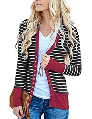 RichCoco Women's Striped Button Down Open Front Long Sleeve Contrast Color Casual Cardigans Sweaters