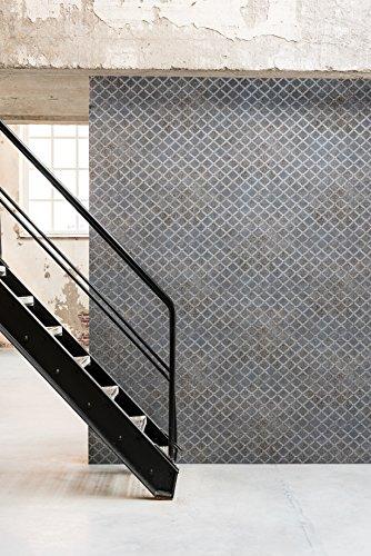 Vliestapete Beton Blech Gitter Grau Silber Industrial metallic 218841 BN Raw Matters
