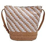 Monland Damen Gestreifte Beutel Tasche Schulter Messenger Stroh Tasche Mori Papier Seil Gewebte Freizeit Tasche Strand Tasche
