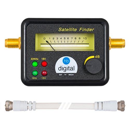 HB DIGITAL SATFINDER mit 4 LED analoger Anzeige, vergoldeten Anschlüssen und Tonsignal + F-Verbindungskabel + Deutsche Anleitung