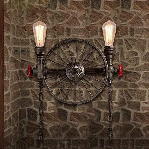 Lámpara de pared . Lámpara de pared vintage Loft Hierro Lámpara de pared de metal Rueda Lámpara industrial Lámpara de ara?a Retro 2 * E27 Soporte de lámpara Bar Restaurante Sala de estar Altura ajusta