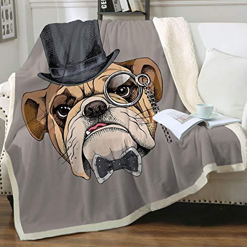 Sleepwish Bulldog Fleece Plush Sofa Couch Blanket Boys Hipster French Bull Dog Sherpa Reversible Warm Throw Blanket Gray (Throw(50'x60'))