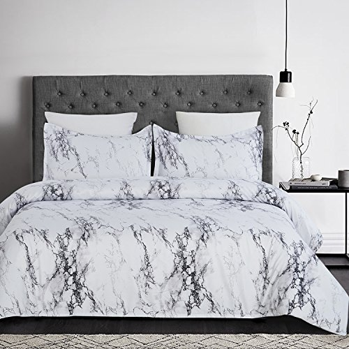 YEPINS Soft Microfiber Duvet Cover Set with Zipper Closure and Corner Ties, Print Floral Pattern Design, White Marble-Double Size(200X200cm)