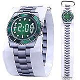 Pavaruni - Papier-Armbanduhr aus wasserdichtem Tyvek-Material - Digitale Anzeige - handgefertigt Familie und Freunde - in Holzbox (Taucheruhr-Optik)