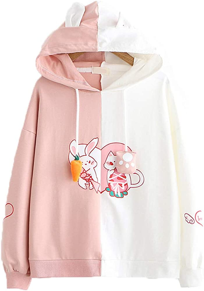 Funny Cute Hoodies, Cat Bunny Patchwork Soft Warm Winter Pullover Hoodie Women