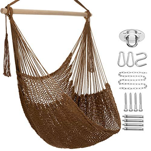 Y- STOP Hammock Chair-Max 330Lbs,Hanging Cotton Rope Hammock Swing Chair Soft,Comfortable,...
