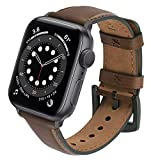 Correa Compatible con Apple Watch 44mm 42mm 40mm 38mm, GerbGorb Yola Pulsera de Piel Bruñida para iWatch SE, Apple Watch Series 6/5/4/3/2/1